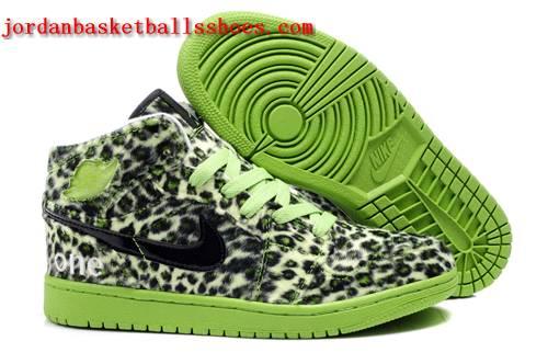 Sale Leopard print Jordan 1 retro green basketball sneakers Shoes On 1TOPJORDAN