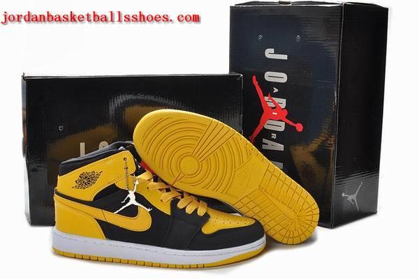 Sale Retro Air Jordans 1 Mens black yellow white Shoes On 1TOPJORDAN