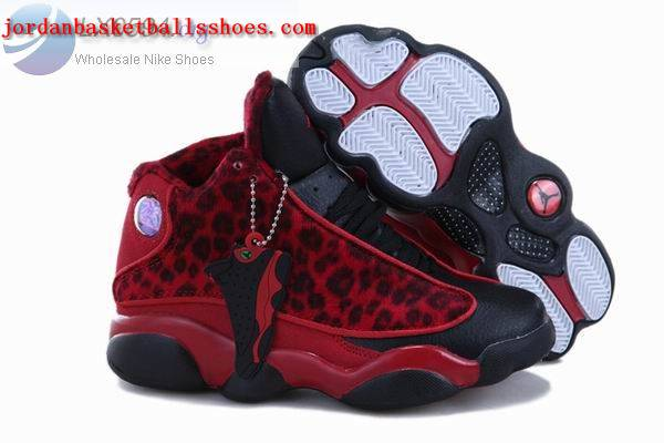 Sale Air Jordans 13 Kids Leopard Print Red Shoes On 1TOPJORDAN