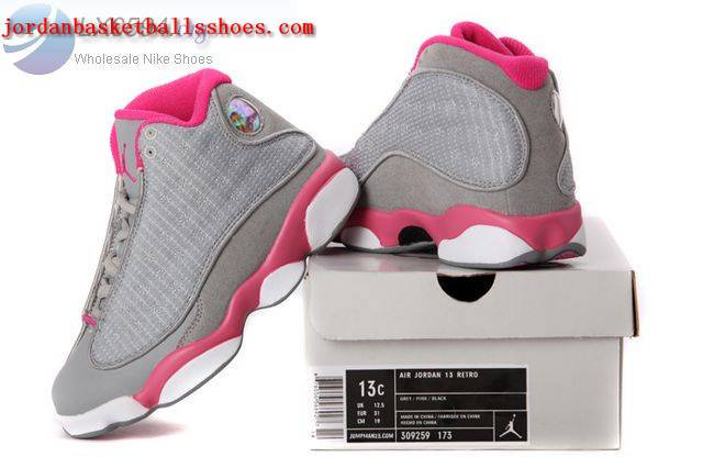 Sale Air Jordans 13 Kids grey pink Shoes On 1TOPJORDAN