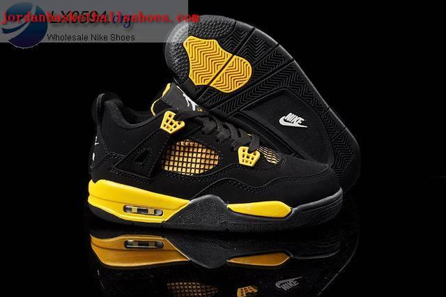 Sale Air Jordans 4 Kids black yellow Shoes On 1TOPJORDAN