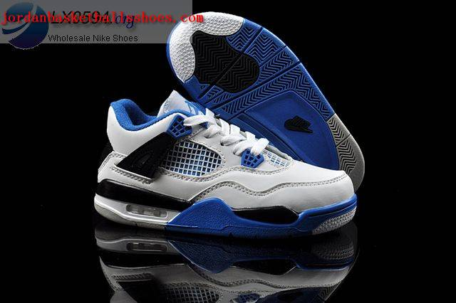 Sale Air Jordans 4 Kids white black blue Shoes On 1TOPJORDAN