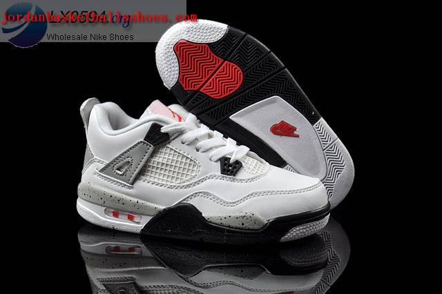 Sale Air Jordans 4 Kids white grey Shoes On 1TOPJORDAN