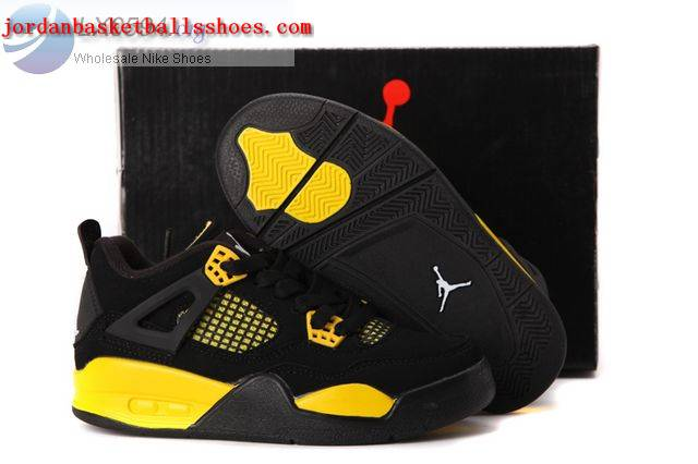 Sale Air Jordans 4 Kids black and yellow Shoes On 1TOPJORDAN