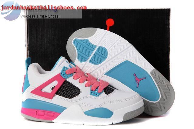 Sale Air Jordans 4 Kids white blue pink Shoes On 1TOPJORDAN