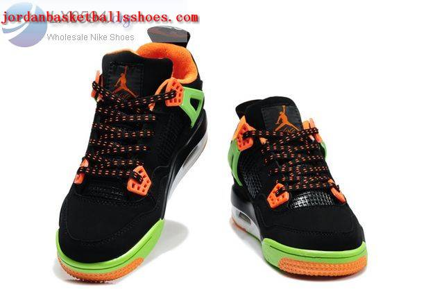 Sale Air Jordans 4 Kids black green orange Shoes On 1TOPJORDAN