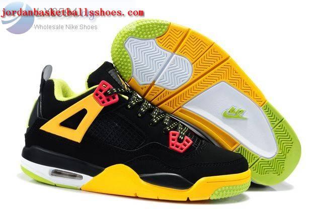 Sale Air Jordans 4 Kids black yellow pink Shoes On 1TOPJORDAN