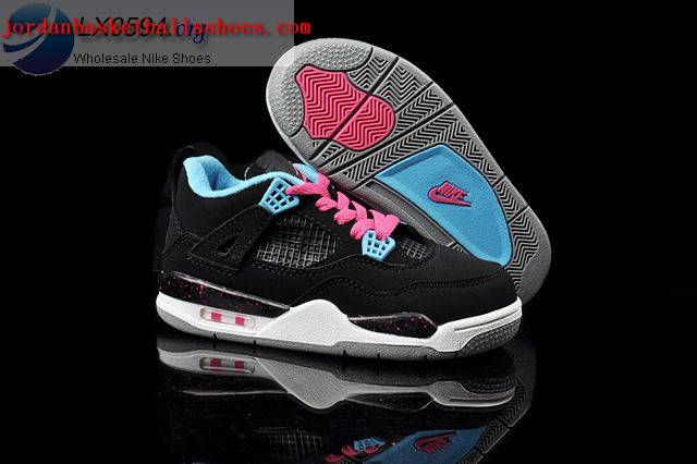 Sale Air Jordans 4 Kids black blue Shoes On 1TOPJORDAN