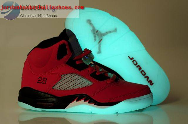 Sale Air Jordans 5 Glow in the dark Red Shoes On 1TOPJORDAN