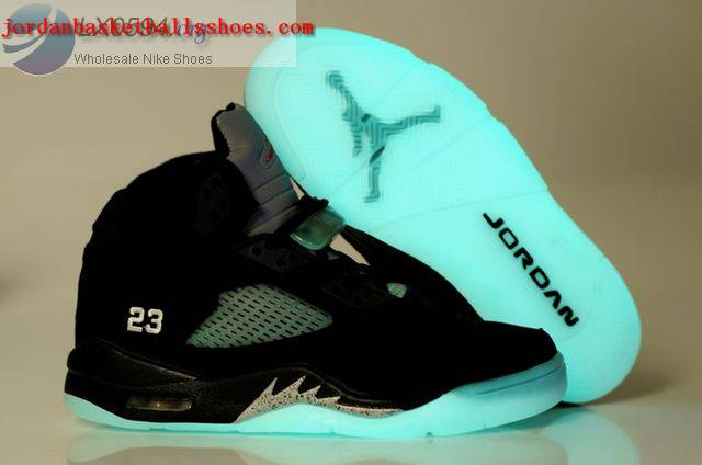Sale Air Jordans 5 glow in the dark Black Silver Shoes On 1TOPJORDAN