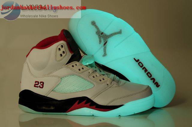 Sale Air Jordans 5 glow in the dark White Black Red Shoes On 1TOPJORDAN