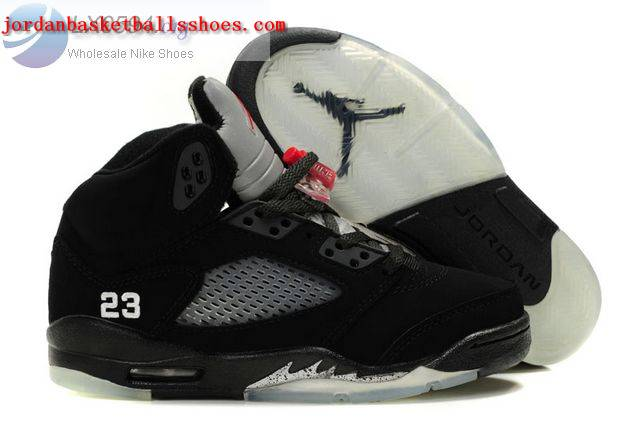 Sale Air Jordans 5 Women black silver Shoes On 1TOPJORDAN