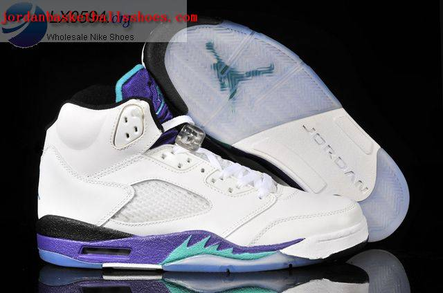 Sale Air Jordans 5 Grape Women White Purple Shoes On 1TOPJORDAN