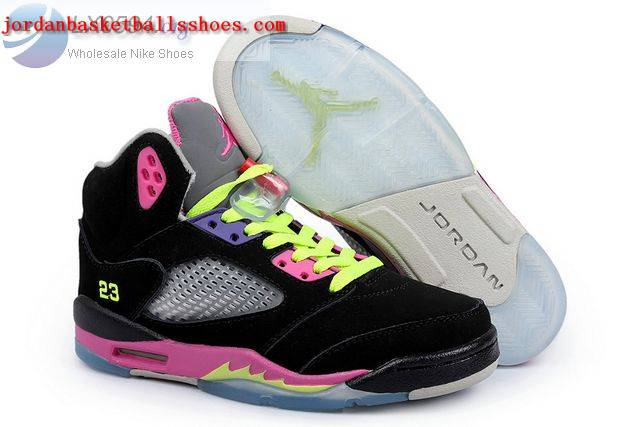 Sale Air Jordans 5 GS Womens Black Pink Shoes On 1TOPJORDAN