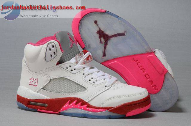 Sale Air Jordans 5 Women White Red Pink Shoes On 1TOPJORDAN