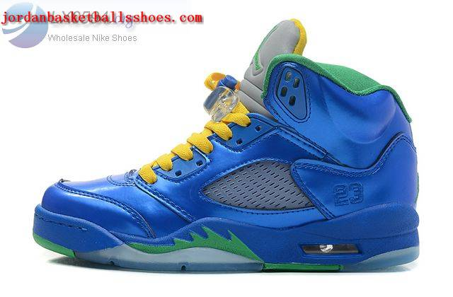 Sale Air Jordans 5 GS Women Metallic Blue Green Shoes On 1TOPJORDAN