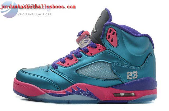Sale Air Jordans 5 GS Women Teal Pink Purple Shoes On 1TOPJORDAN