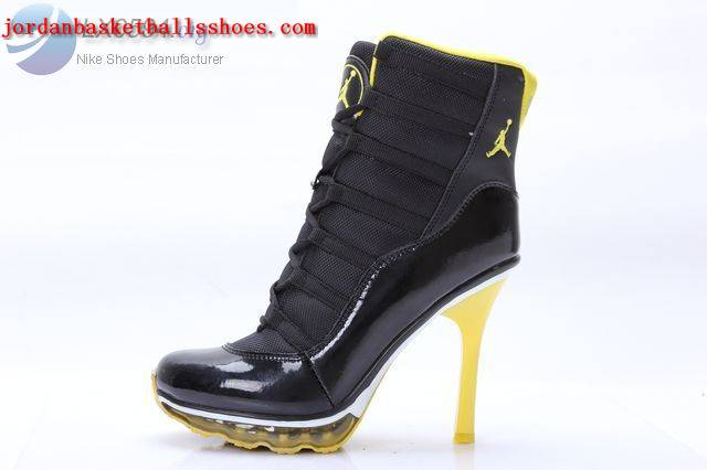 Sale Air Jordans 11 High Heels Black Yellow Shoes On 1TOPJORDAN