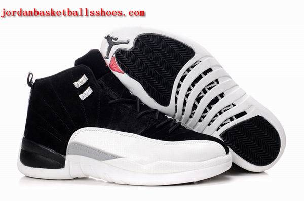 Sale Air Jordans 12 Retro black white leather Shoes On 1TOPJORDAN