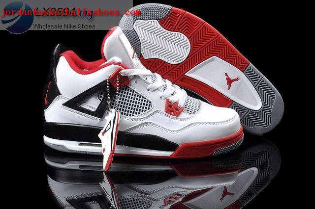 Mens Air Jordan Retro 4 White Black Red shoes