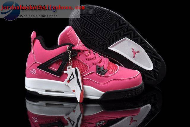 Sale Air Jordans 4 Women pink white black Shoes On 1TOPJORDAN