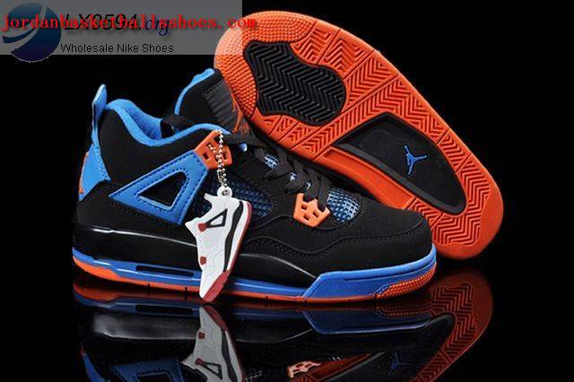 Sale Air Jordans 4 Women black blue orange Shoes On 1TOPJORDAN