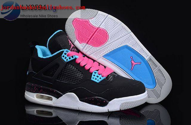 Sale Air Jordans 4 Women black white blue Shoes On 1TOPJORDAN