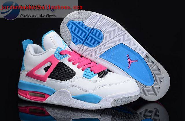 Sale Air Jordans 4 Women white blue pink Shoes On 1TOPJORDAN