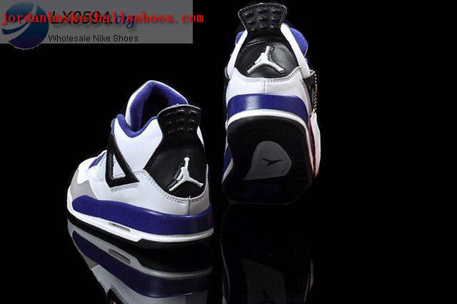 Sale Air Jordans 4 Women white blue black Shoes On 1TOPJORDAN