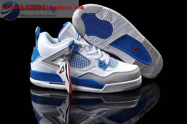 Sale Air Jordans 4 Women white blue grey Shoes On 1TOPJORDAN