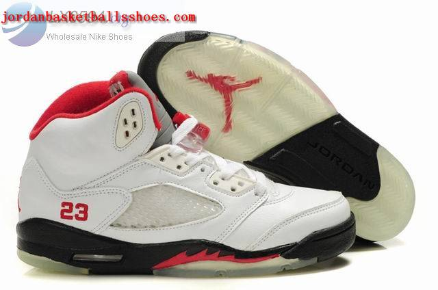 Sale Air Jordans 5 Women white black red Shoes On 1TOPJORDAN