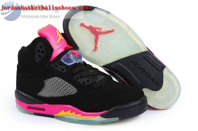 Sale Air Jordans 5 Women black and pink Shoes On 1TOPJORDAN