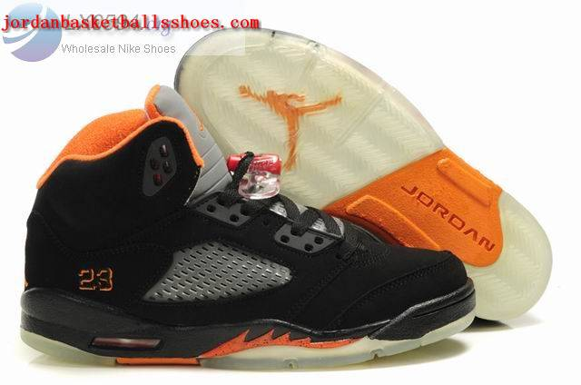 Sale Air Jordans 5 Women black orange Shoes On 1TOPJORDAN