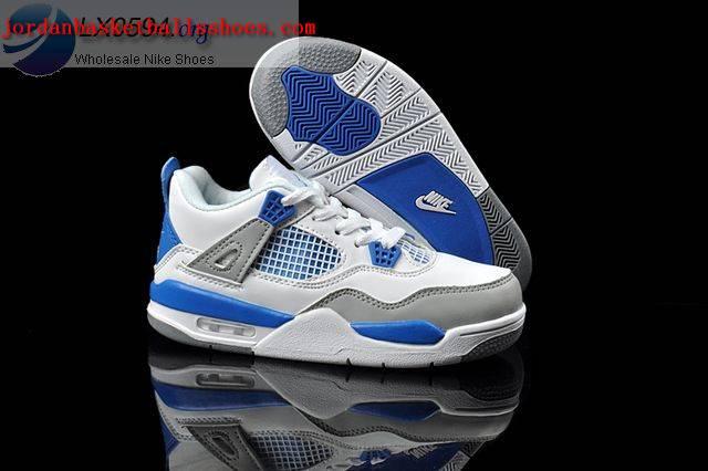 9a6c0b9a120 Sale Air Jordans 4 Kids White Grey Blue Shoes On 1TOPJORDAN [NAJB ...