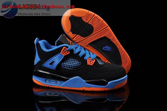 Sale Air Jordans 4 Kids black blue orange Shoes On 1TOPJORDAN