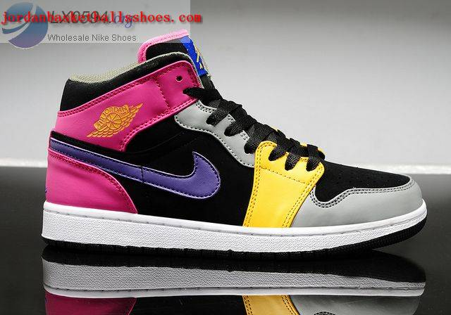 Sale Girls Air Jordans 1 Black Pink Purple Shoes On 1TOPJORDAN