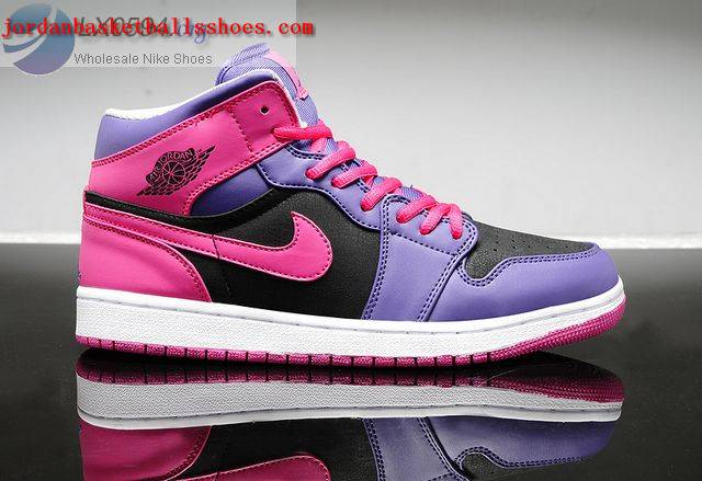 Sale Air Jordans 1 Womens Black Purple Pink Shoes On 1TOPJORDAN
