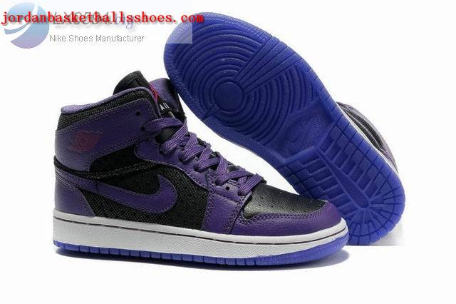 Sale Girls Air Jordans 1 Phat Black Purple Shoes On 1TOPJORDAN