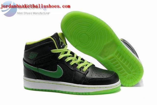 Sale Girls Air Jordans 1 Phat Black Green Shoes On 1TOPJORDAN