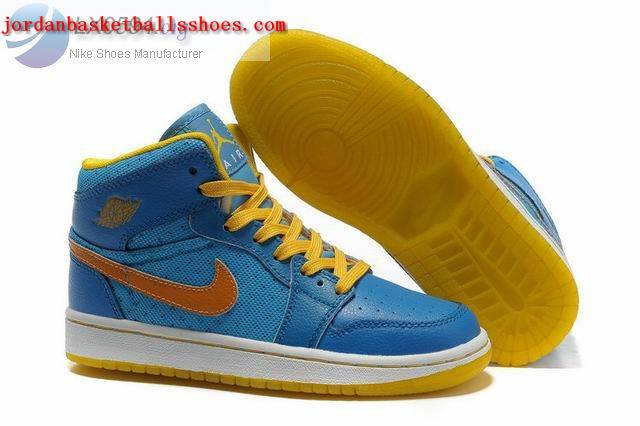 Sale Girls Air Jordans 1 Phat Blue Yellow Shoes On 1TOPJORDAN