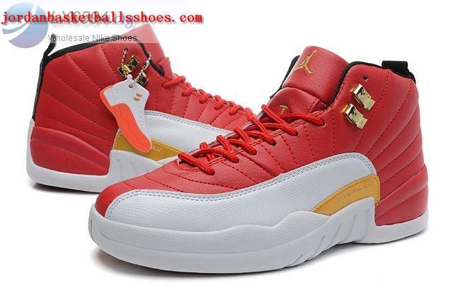 new concept 24f5c 2425b Sale Air Jordans 12 Women Red White Gold Shoes On 1TOPJORDAN