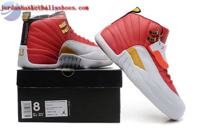 Sale Air Jordans 12 Women Red White Gold Shoes On 1TOPJORDAN  NAJB ... 3f87fb99e7