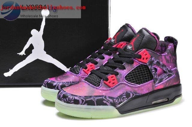 Sale Air Jordans 4 Galaxy Purple Glow in the Dark Shoes On 1TOPJORDAN
