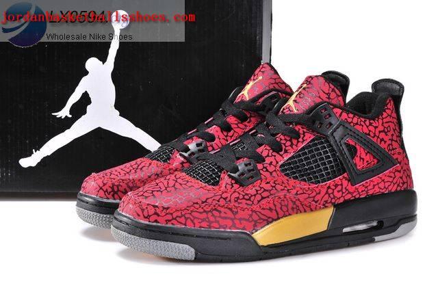 7451341abb3d Sale Air Jordans 4 Women Elephant Print Red Black Gold Shoes On 1TOPJORDAN