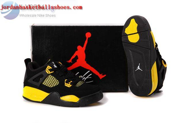 official photos 3e3d8 39cae Sale Air Jordans 4 Kids black and yellow Shoes On 1TOPJORDAN