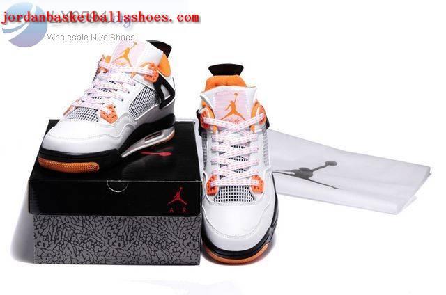 36975f5a32a6db ... Sale Air Jordans 4 Kids white black orange Shoes On 1TOPJORDAN  Kids  Nike ...